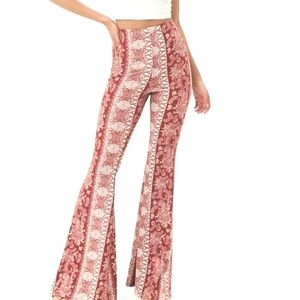 Forever 21 Rust Floral Flare Leg Pants Size Large